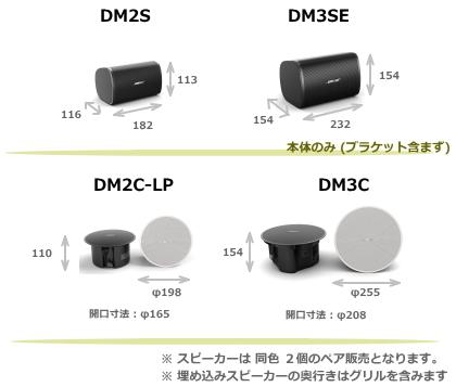 DM2,DM3 シリーズスピーカーサイズ