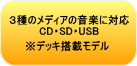 4��ނ̃��f�B�A�̉��y�ɑΉ��BCD SD USB�B