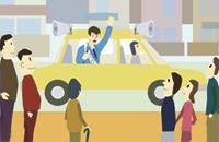 市街地の選挙活動に車載用アンプ