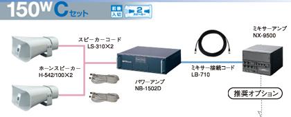 ユニペックス 選挙カー用 アンプ・スピーカー 150W クラスセット 12V仕様 S-150W-C-SET