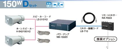 ユニペックス 選挙カー用 アンプ・スピーカー 150W クラスセット 12V仕様 S-150W-D-SET
