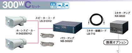 ユニペックス 選挙カー用 アンプ・スピーカー 300W クラスセット 12V仕様 S-300W-C-SET