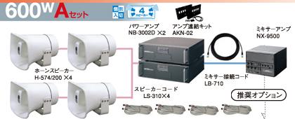 ユニペックス 選挙カー用 アンプ・スピーカー 600W クラスセット 12V仕様 S-600W-A-SET