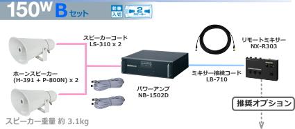 ユニペックス 選挙カー用 アンプ・スピーカー 150W クラスセット 12V仕様 SS-150W-B-SET