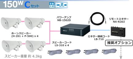 ユニペックス 選挙カー用 アンプ・スピーカー 150W クラスセット 12V仕様 SS-150W-C-SET
